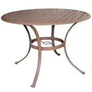 "Panama Jack Island Breeze Slatted Aluminum 48"" Round Dining Table with Umbrella Hole"