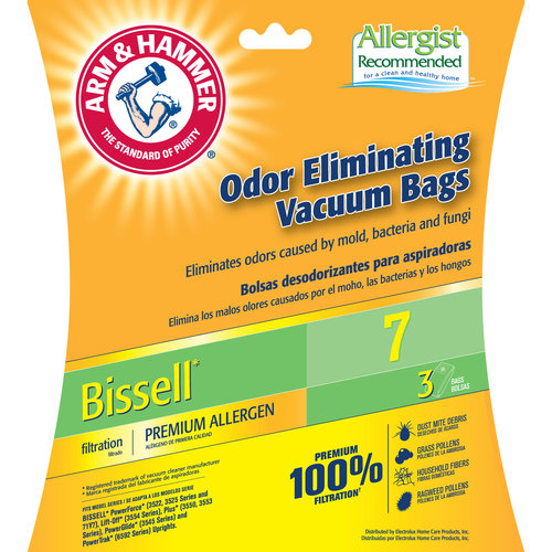 Arm & Hammer Premium Filtration Odor Eliminating Vacuum Bags, Bissell 7 Premium Bag, 3 Pack