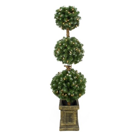 4 5 Pre Lit Frosted Triple Ball Artificial Topiary Tree