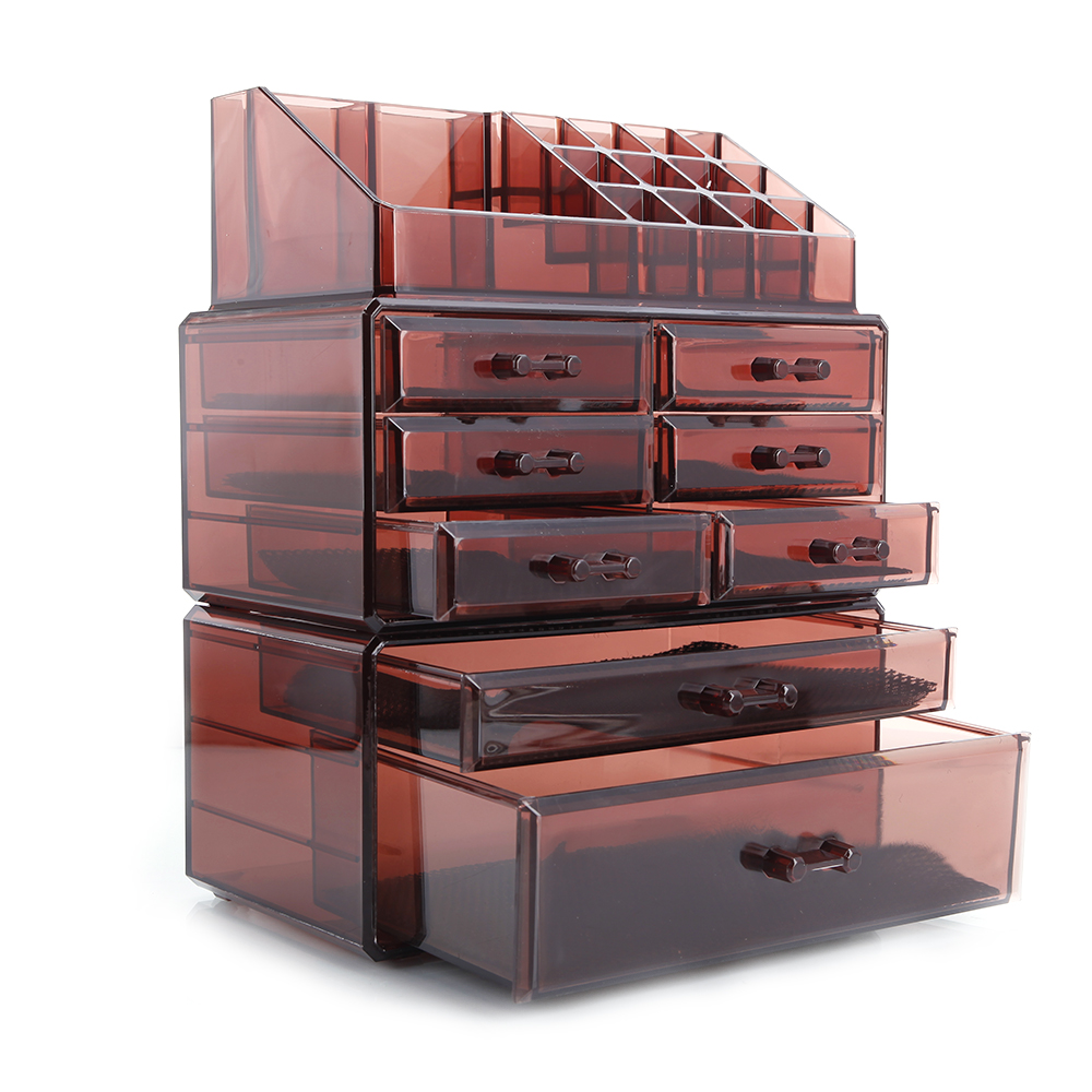 Ktaxon Acrylic Makeup Cosmetic Organizer Storage 8 Drawers Display Boxes Case, Three Pieces Set
