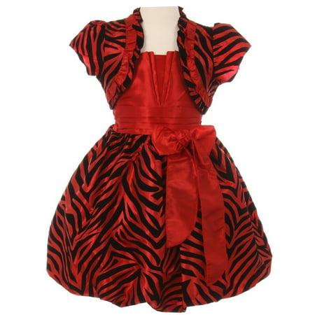 Girls Red Zebra Stripe Ribbon Tie Bolero Taffeta Christmas Dress - Zebra Girls