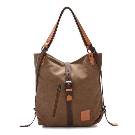 Grtsunsea Multifunctional Canvas Bag, Women Casual Convertible Backpack Handbag Purse Ladies Shoulder Bag