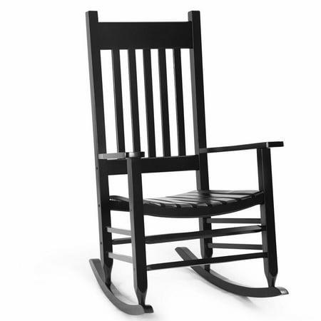 GHP 300-Lbs Capacity Glossy Black Robinia Wood Patio Porch High Back Rocking -