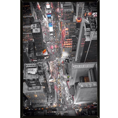 New York Times Square Lights Poster in a Black Thin Poster Frame (24x36)