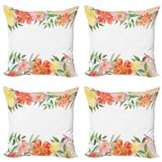 Floral Throw Pillow Cushion Case Pack of 4, Flower Petals with Soft Pastel Tones Bouquet Blooms Shabby Colors Feminine Motif, Modern Accent Double-Sided Print, 4 Sizes, Multicolor, by Ambesonne