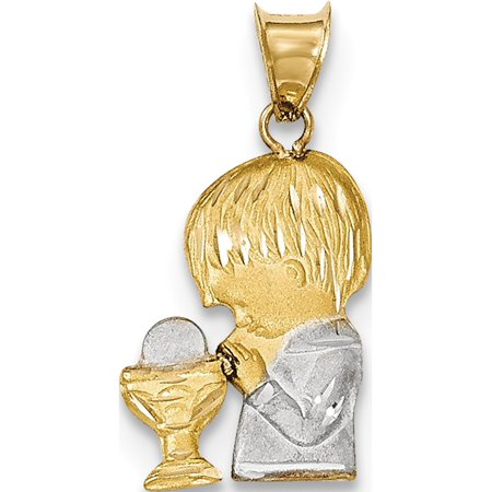 14k Yellow Gold w/Rhodium w/Rhodium Satin & Polished D/C Boy Communion Pendant / Charm - image 2 de 2
