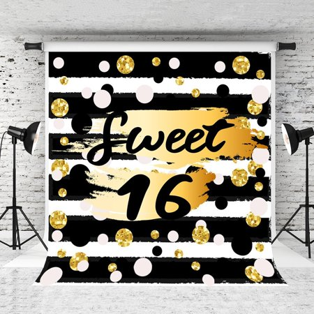 GreenDecor Polyster 5x7ft Black White Strips Photography Backdrop Sweet 16 Spots Background for Party Photo Studio Backdrop Props