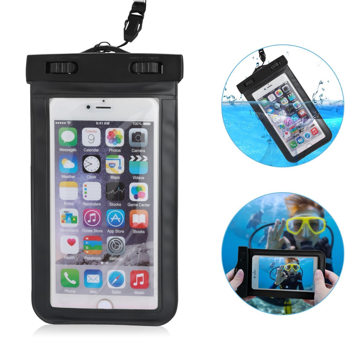 "Universal Waterproof Case CellPhone Dry Bag for iPhone 6 6S Plus SE 5S Galaxy S7 LG HTC Motorola up to 6.0"" (Black)"