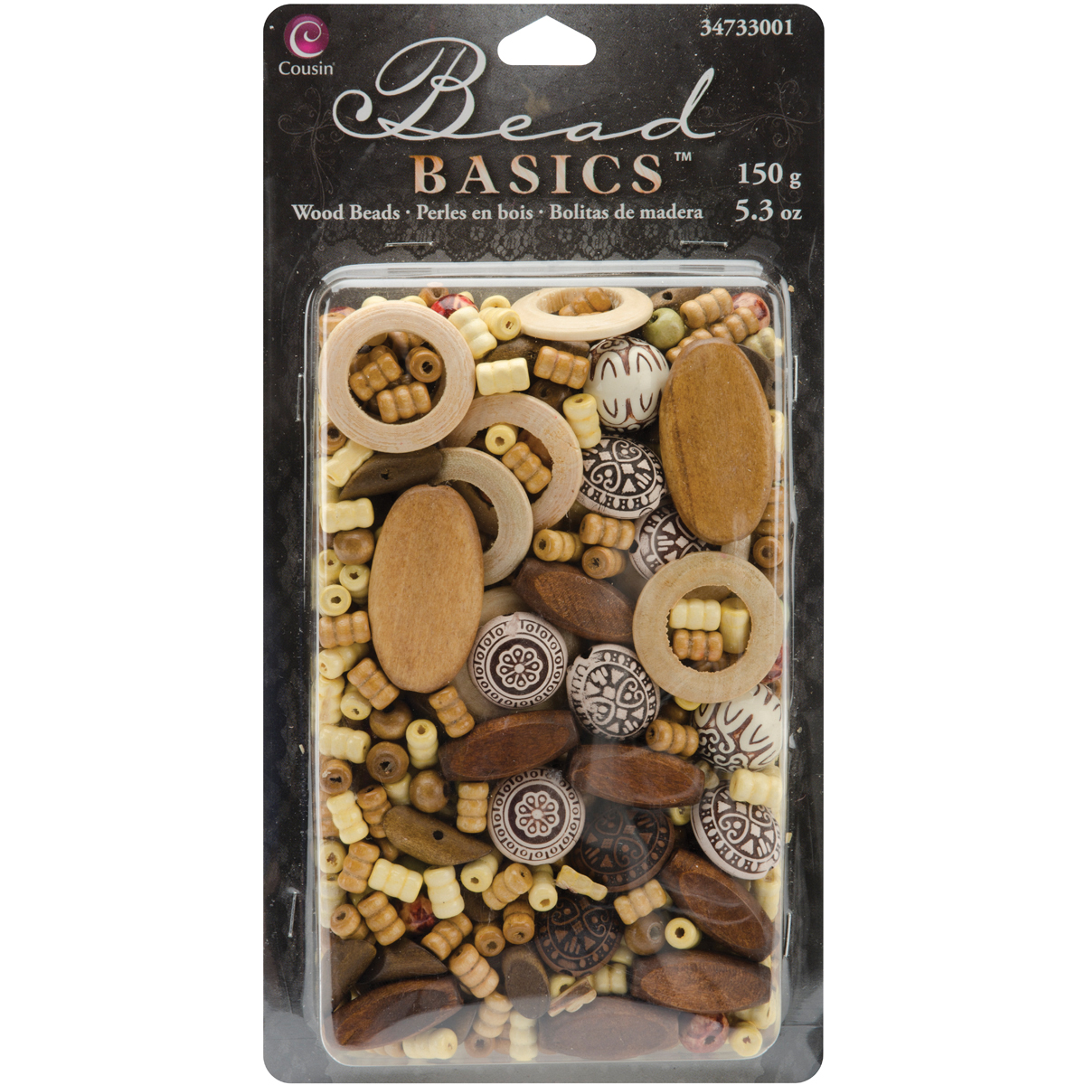 Cousin Jewelry Basics Wood Bead Mix, 150g/pkg