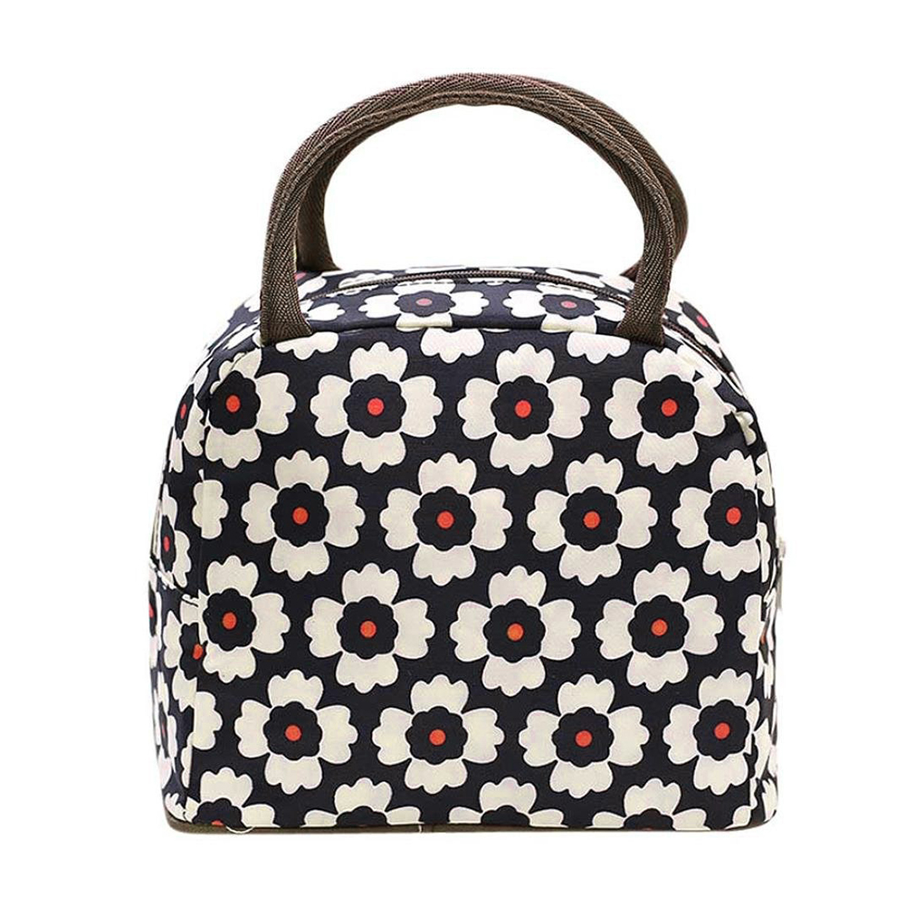 Moderna Portable Zipper Flower Pattern Travel Picnic Lunch Tote Organizer Storage Bag