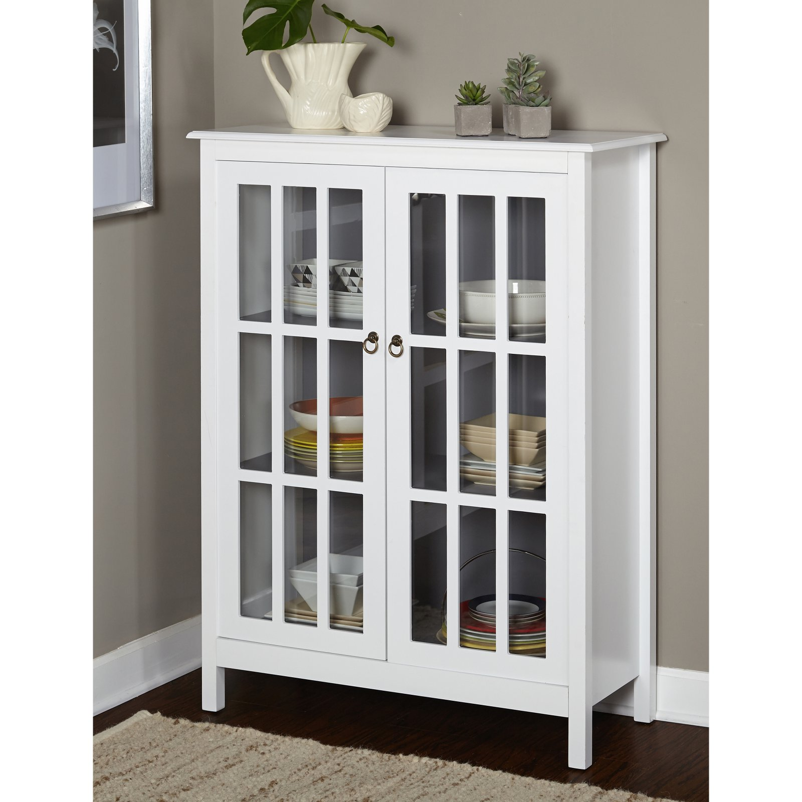 Portland Tall Cabinet, White/Grey