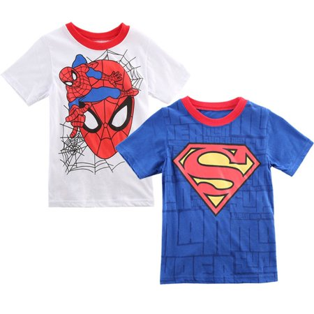 Spider Short Sleeve Tees - 2-7Years Baby Boy Novelty Short Sleeve T-shirt Spiderman Superman Costume Tees Tops