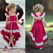 Toddler Kids Girls Party Bow Princess Dress Flower Wedding Bridesmaid Formal Dresses Red 3-4 Years