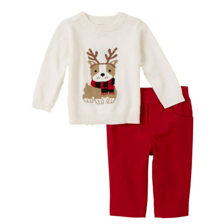 Childrens Place Infant Boys Outfit White Puppy Sweater & Red Pants Set This handsome baby boys outfit features a white sweater with an adorable puppy design and red pants. Perfect for any special occasion!2 Piece OutfitSize: Infant BoysSweater: 100% cottonPants 100% cottonPerfect for any special occasionBrand: The Childrens Place