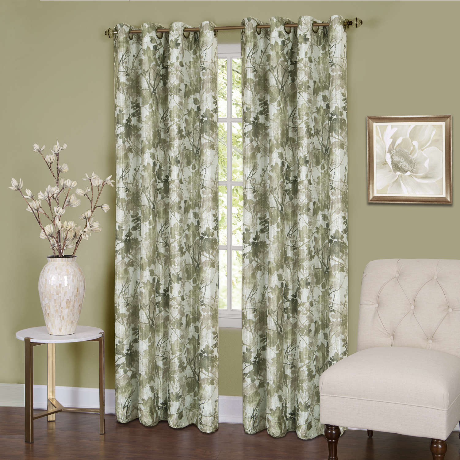 Tranquil - Lined Grommet Window Curtain Panel