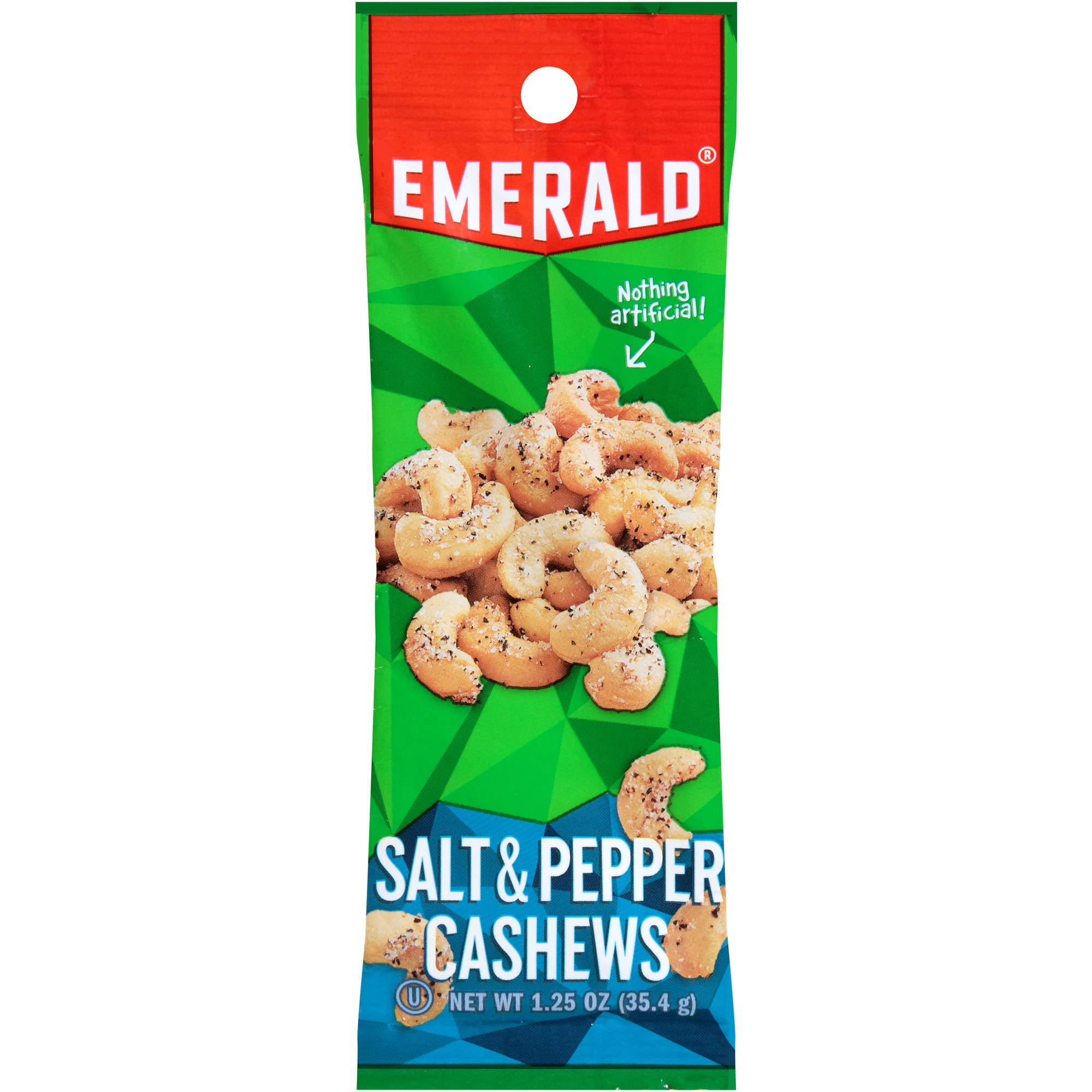 Emerald Sea Salt and Pepper Cashews, 1.25 oz. Tube Package, 12 Box by Diamond Foods