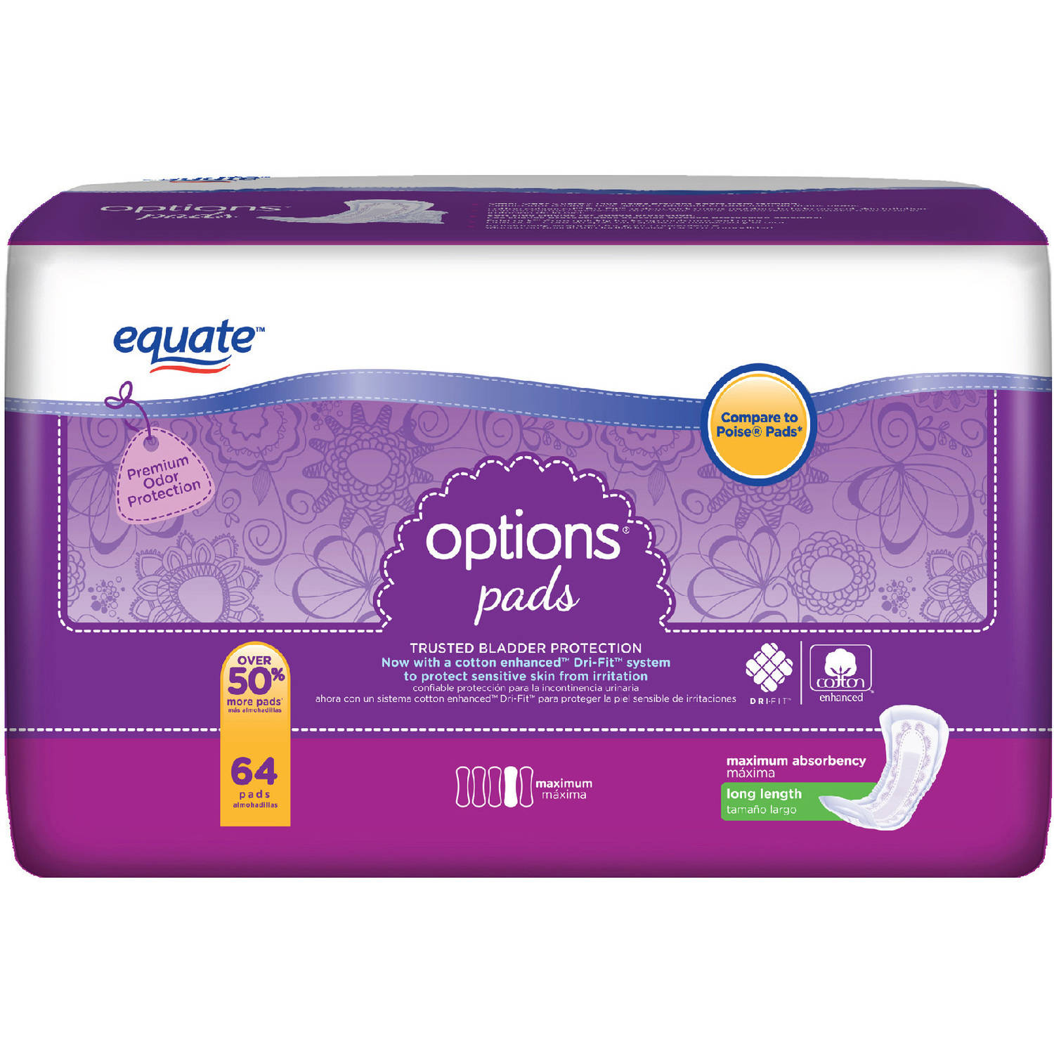 Equate Options Maximum Long Length Incontinence Pads, 64 count