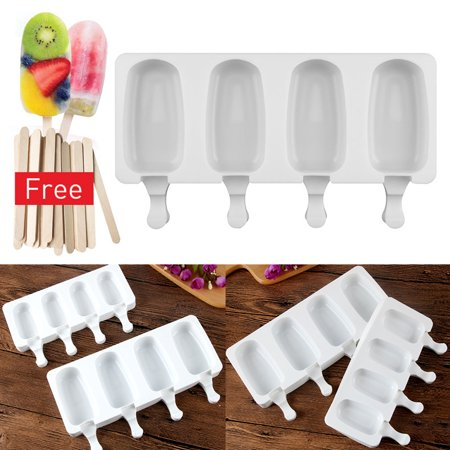 Homemade Popsicle Silicone Molds , 4 Cavities Ice Pop Mold with 10 Wooden Stick](Bomb Pop Popsicle)