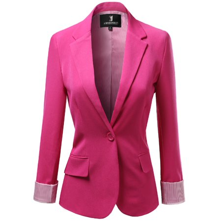 Blue 16 Pocket Square - FashionOutfit Women's Solid Long Sleeves One Button Closure Side Pocket Inner Stripe Blazer