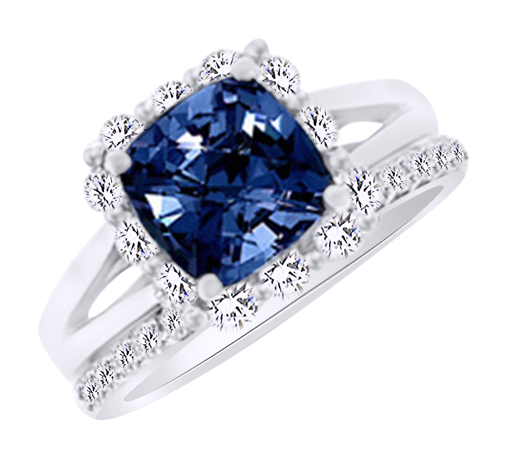 (3.35ct) Simulated Blue Sapphire & White Diamond Halo Engagement Ring Set In 14k Solid Gold With Ring Size 4 by Jewel Zone US