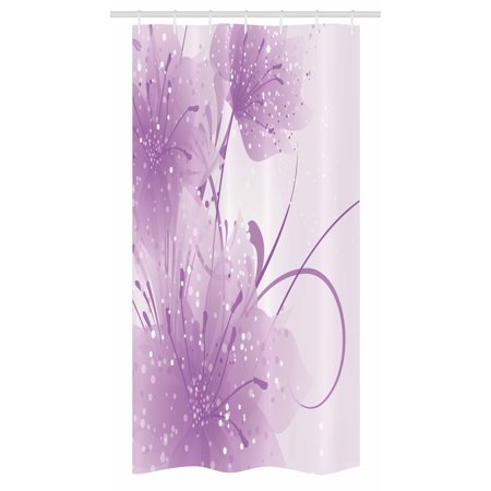 Purple Stall Shower Curtain, Abstract Art Style Vector Illustration of Flower Background with Butterfly, Fabric Bathroom Set with Hooks, 36W X 72L Inches Long, Violet and White, by Ambesonne (Purple Shower Stall Curtains)