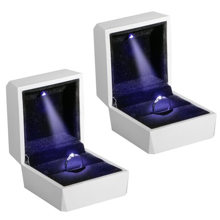 Ring Boy Gifts (2-pack Night Box Light up LED, Diamond Ring Box White LED Light Velvet Jewelry Gift for Wedding Proposal)