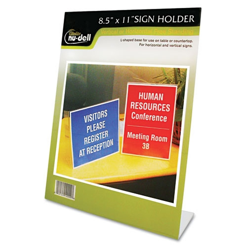 Glolite Nudell LLC Clear Plastic Sign Holder, Stand-Up, Slanted