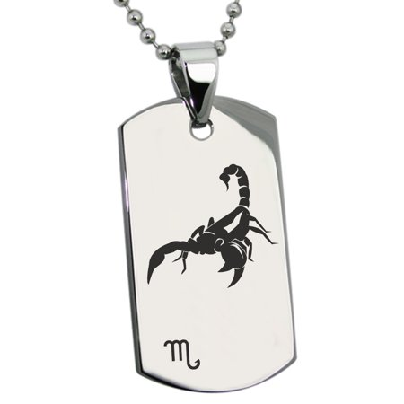 Stainless Steel Scorpio Astrology Zodiac Sign Engraved Dog Tag