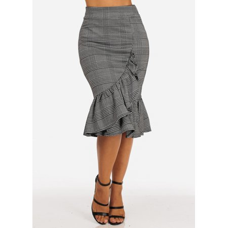 Wear Plaid Skirt - Womens Juniors Office Career Wear Work High Rise Ruffle Detail Black Plaid Print Midi Skirt 40649U