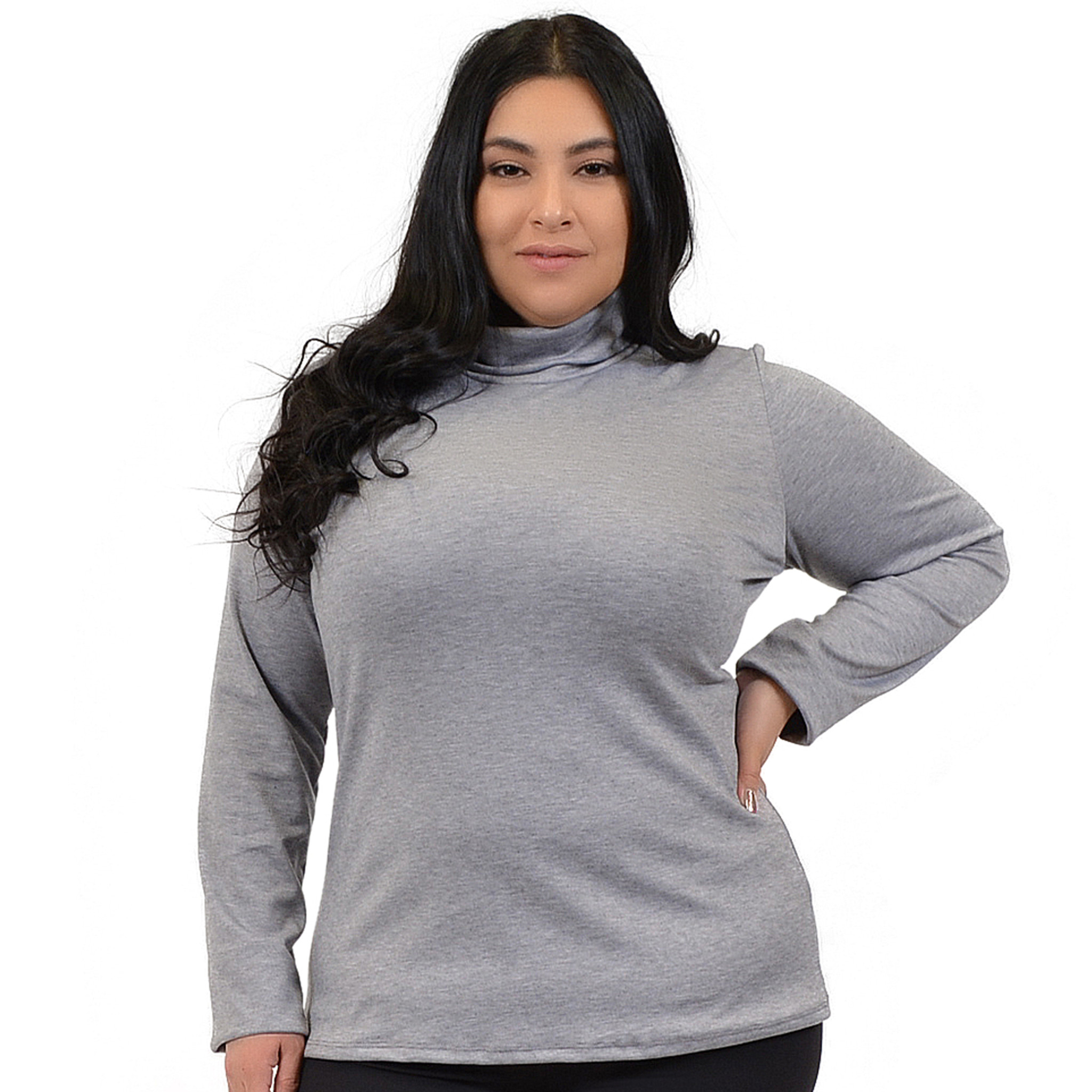 880ef158a4621 Stretch Is Comfort - Plus Size Warm Long Sleeve Turtleneck Top - XXX-Large ( 20)   Charcoal Gray - Walmart.com