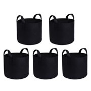 5 Pack 5 Gallon Grow Bags Breathable Fabric Pots Root Pouch With Handles Flower Vegetables and Fruits Planting Container,Black
