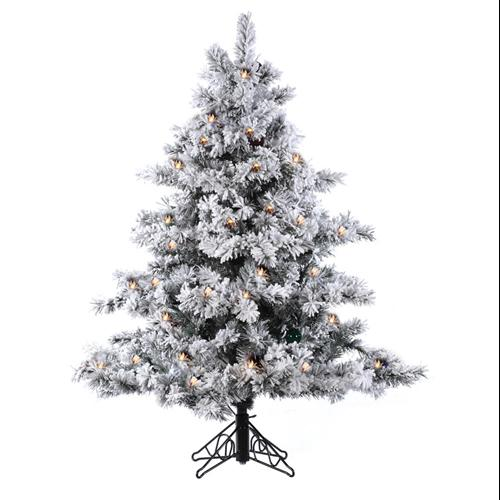 3' Pre-Lit Flocked Alaskan Artificial Christmas Tree - Clear Dura Lights