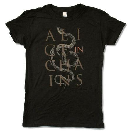 Alice In Chains Snake Girls Juniors Black T Shirt
