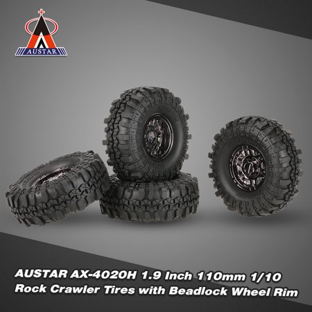 4Pcs 1.9 Inch 110mm 1/10 Rock Crawler Tires with Beadlock Wheel Rim for D90 SCX10 AXIAL RC4WD TF2 RC Car Truck Monster Truck Bigfoot ()