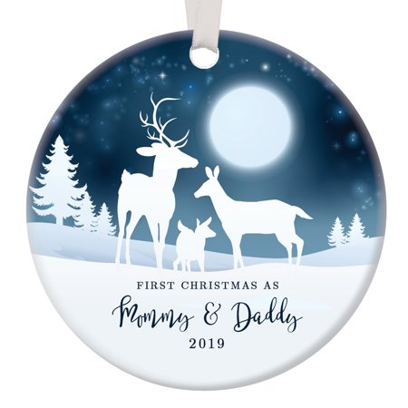 - 1st Christmas as Mommy & Daddy 2019, New Parents Ornament, Deer Family Porcelain Ornament, 3