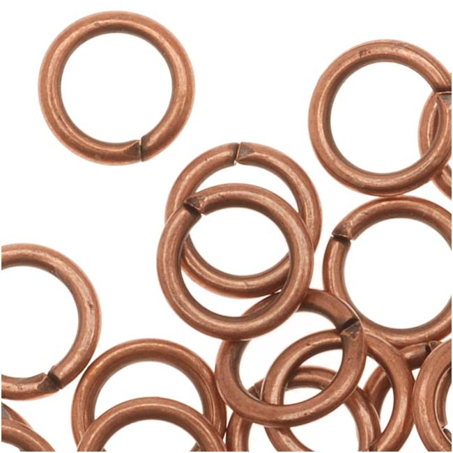 Genuine Antiqued Copper Open 6mm Jump Rings 19 Gauge (50)