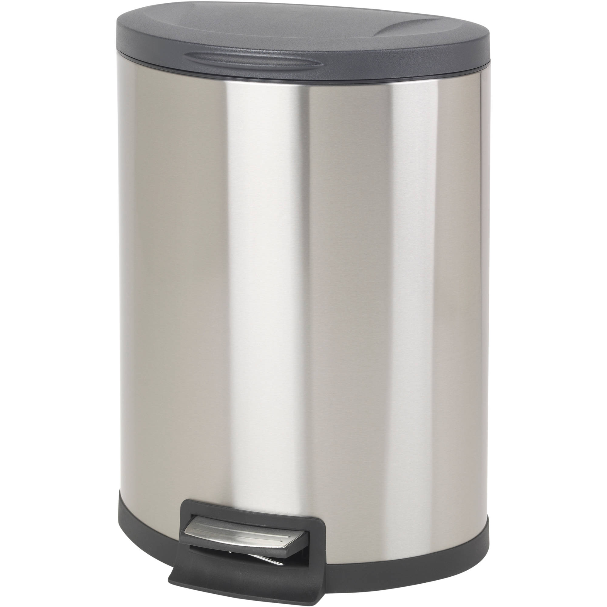 Better Homes & Garden 11.8 Gallon Semi Round Stainless Steel Waste Can