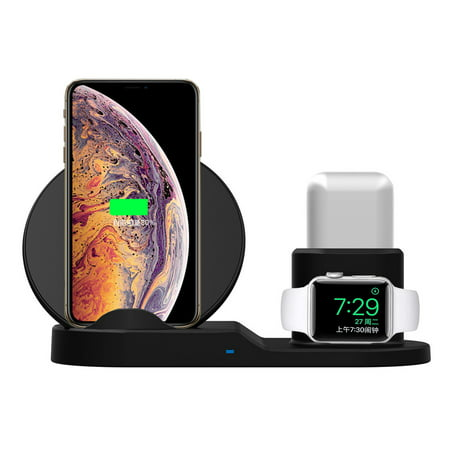 3 IN 1 Wireless Fast Charger Charging Pad Stand for Apple Watch 4/3/2/1 & forAirpods - Qi Wireless Charging Station Dock for iPhone 11 Pro X XS Max XR, for Samsung S9 S8 Note 9