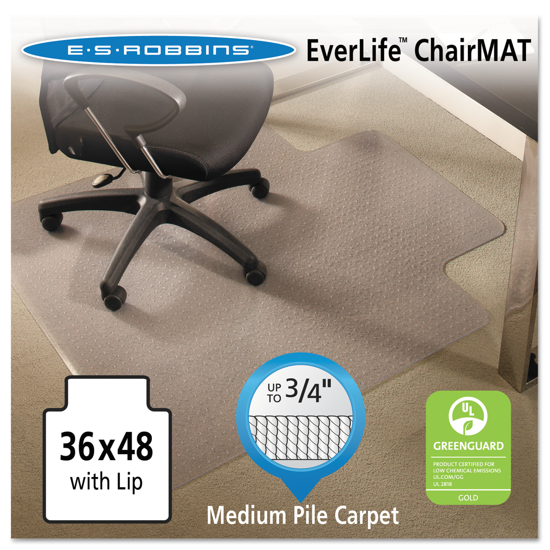 ES Robbins EverLife 36 x 48 Chair Mat for Medium Pile Carpet, Rectangular with Lip