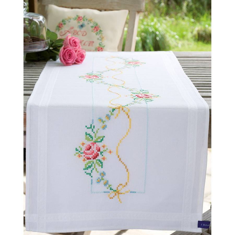 """Vervaco Garland with Roses Table Runner Stamped Embroidery Kit, 16"""" x 40"""""""
