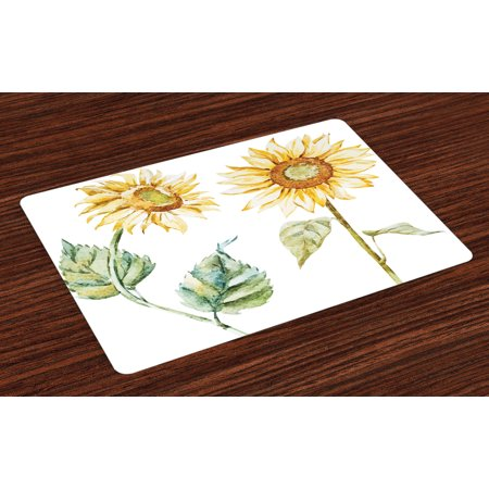 Watercolor Placemats Set of 4 Alluring Sunflowers Summer Inspired Design Agriculture, Washable Fabric Place Mats for Dining Room Kitchen Table Decor,Earth Yellow Pale Yellow Fern Green, by Ambesonne ()