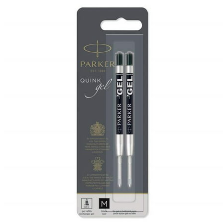 Parker 1950362 Medium Refill for Gel Ink Roller Ball Pens, Black Ink - Pack of