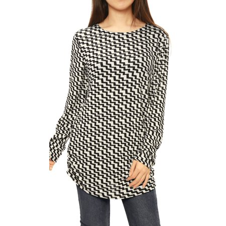 Women Printed Shirred Sides Knitted Tunic Tops