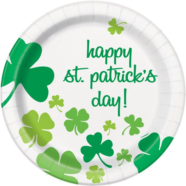 Rainbow Shamrock St. Patrick's Day Paper Dinner Plates, 9in, 8ct