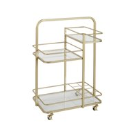 Adornments Gold Barcart With 3 Glass Shelves