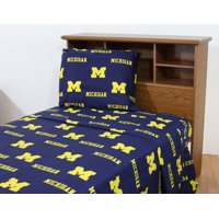 Michigan Wolverines 100% cotton, 4 piece sheet set - flat sheet, fitted sheet, 2 pillow cases, King, Team Colors