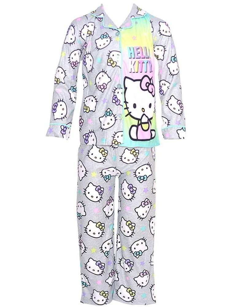 Big Girls Grey Character Print Button 2 Pc Pajama Set 7-12