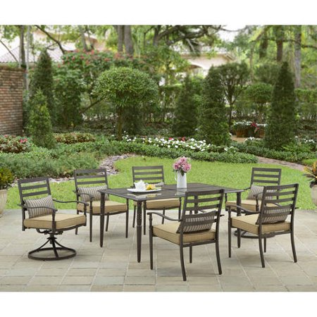 Better homes and gardens sigel trail 7 piece patio dining set seats 6 7 better homes and gardens