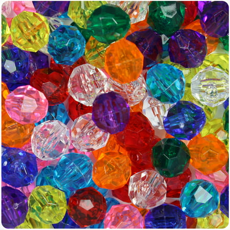 BeadTin Transparent Multi 12mm Faceted Round Craft Beads (150pcs)