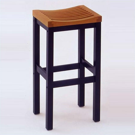 """Wood Counter Stool 24"""", Black and Cottage Oak"""